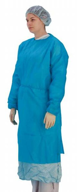 Examination Gown Blue Long Sleeve Elasticated Cuff
