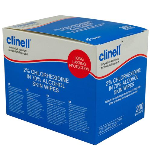 Clinell Alcohol 2% Chlorhexidine Skin Wipes Pk200