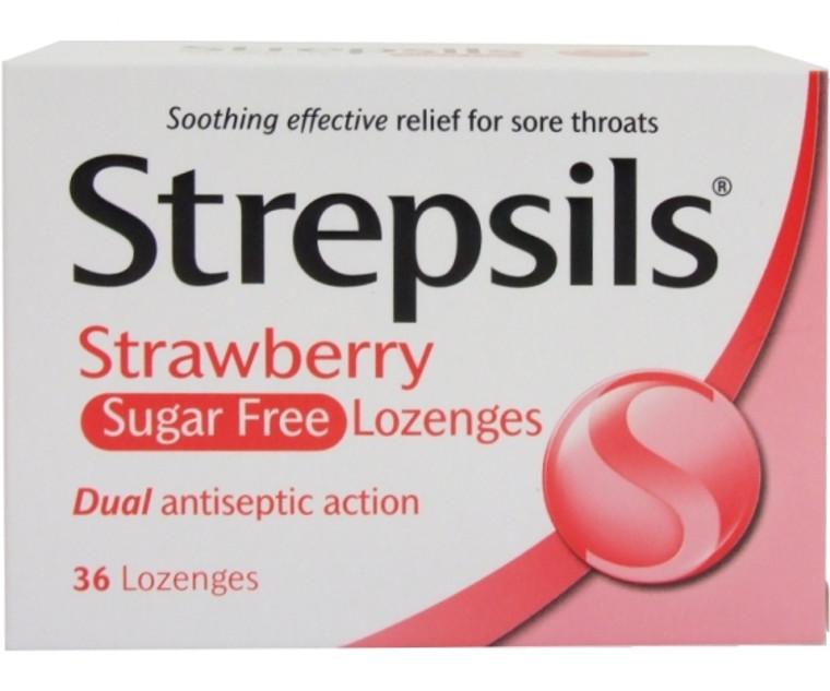 Strepsils Sugar Free Strawberry Lozenges (Pack of 36)