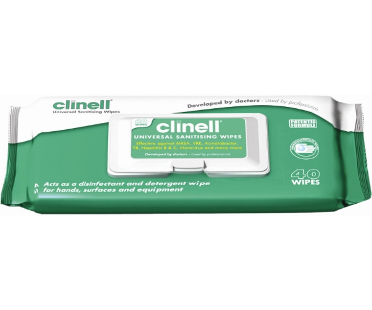 Clinell Alcohol Free Wipes (Pack of 40) Universal Skin Surface Sanitising Wipes