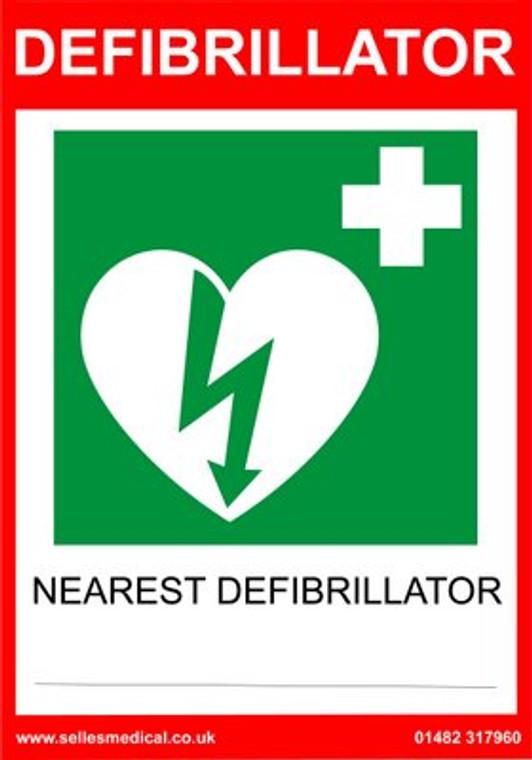 Defibrillator Location Sign Self Adhesive 30x21cm