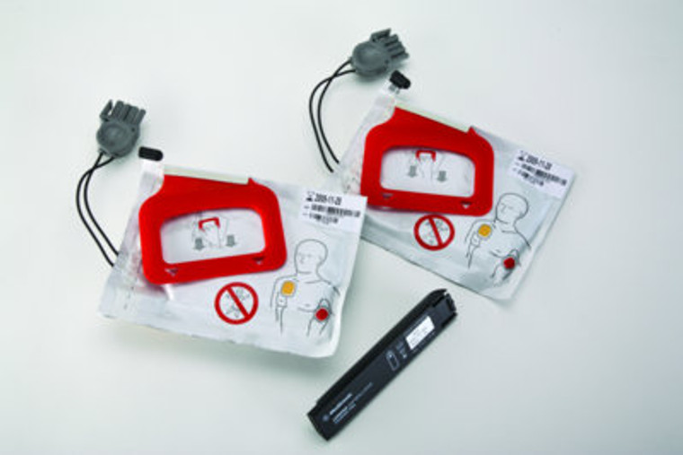 Lifepak CR Plus CHARGE-PAK Charging Stick and 2 x Quickpack Electrodes