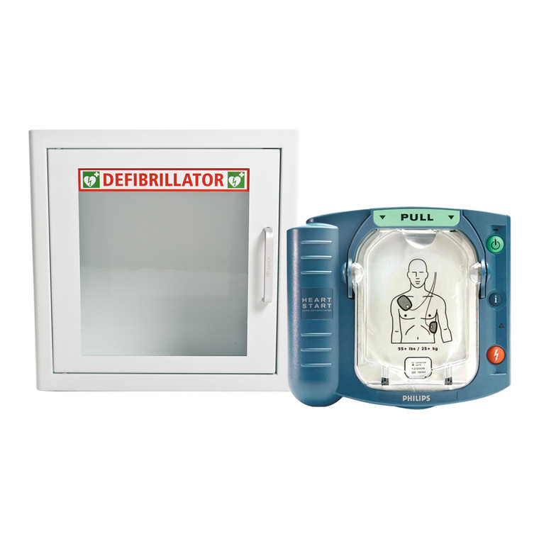HeartStart HS1 Defibrillator with Alarmed Cabinet