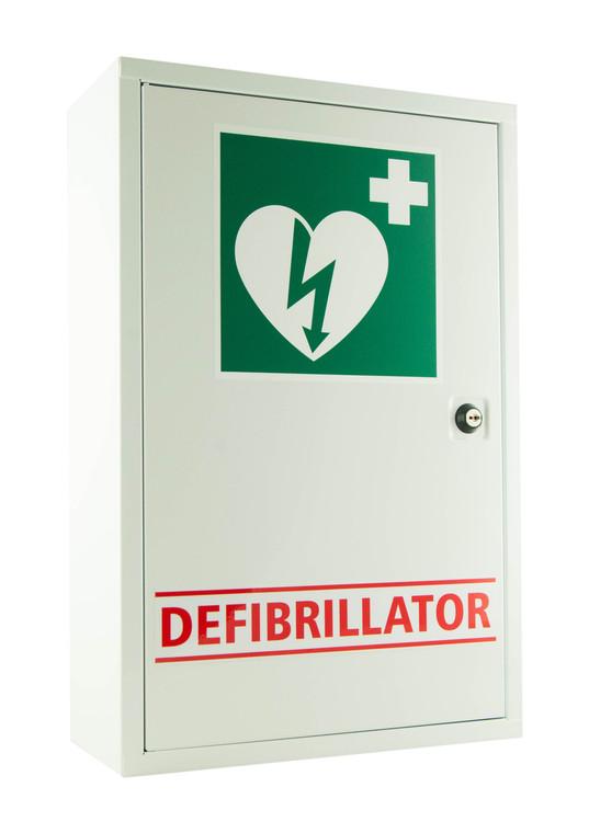 White Lockable Defibrillator Metal Cabinet