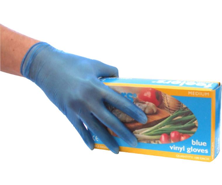 Vinyl Blue Powdered Gloves (Pack of 100)