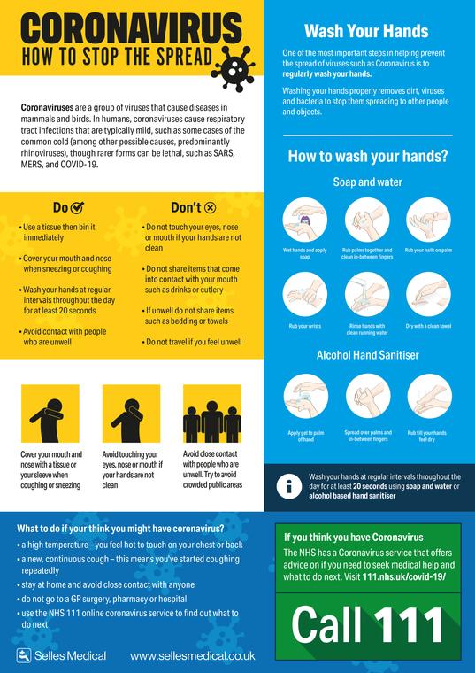Coronavirus 'How to Stop the Spread' Poster