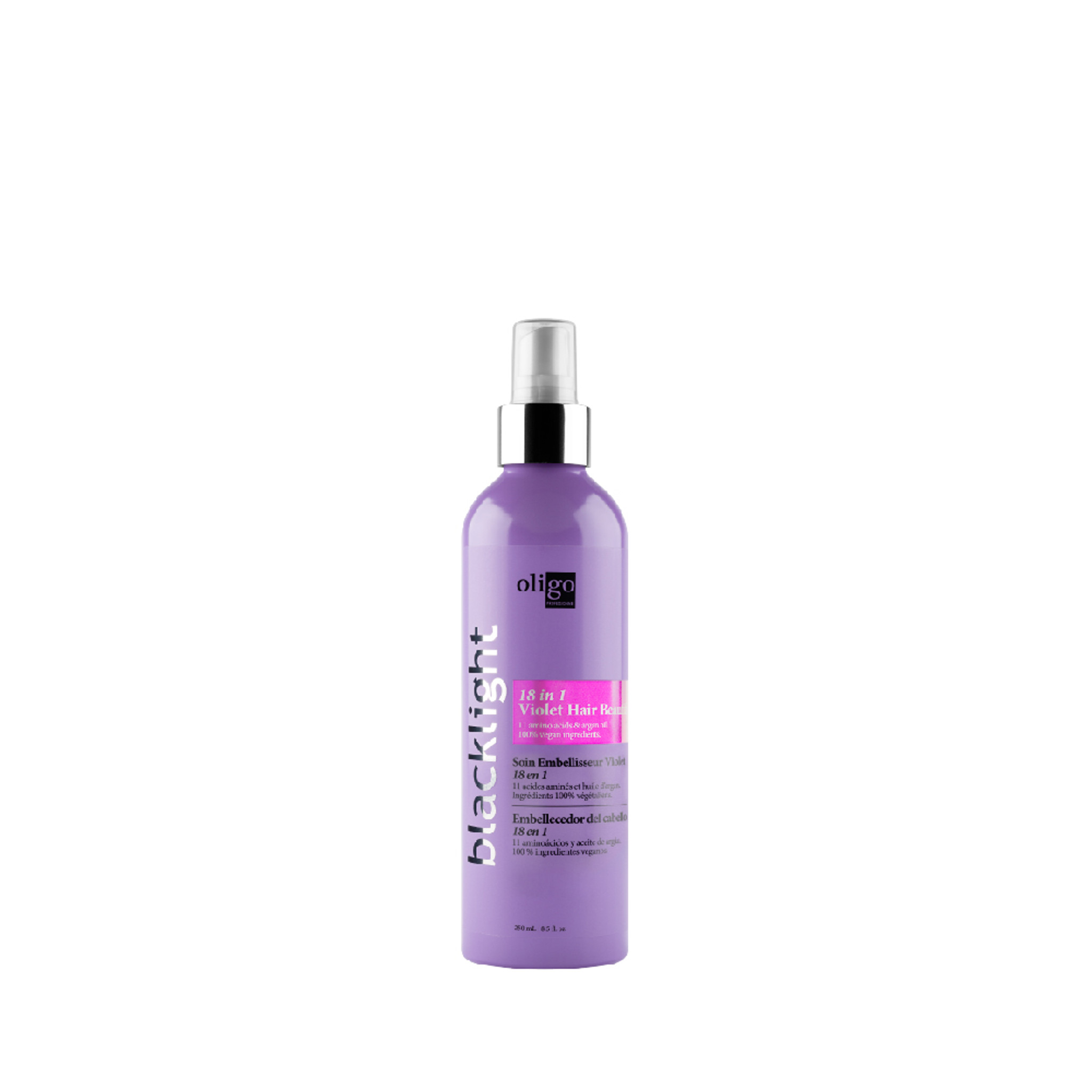 Oligo Pro Blacklight 18 in 1 Hair Beautifier Violet formula 250ml available at Salon Support. Blonde hair treatments, blonde shampoo and conditioners. Salon Support are Hair & Barber Barbershop Trade Wholesale Hairdressing Supplies Melbourne Australia Experience the unmatched lifting power accompanied by a 100% vegan aftercare line. Oligo Pro Blacklight lightening system is the key to navigating your way through the complete spectrum of blondes.