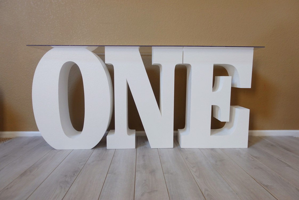 """ONE Table Base Foam Letters 30"""" tall and 8"""" deep"""