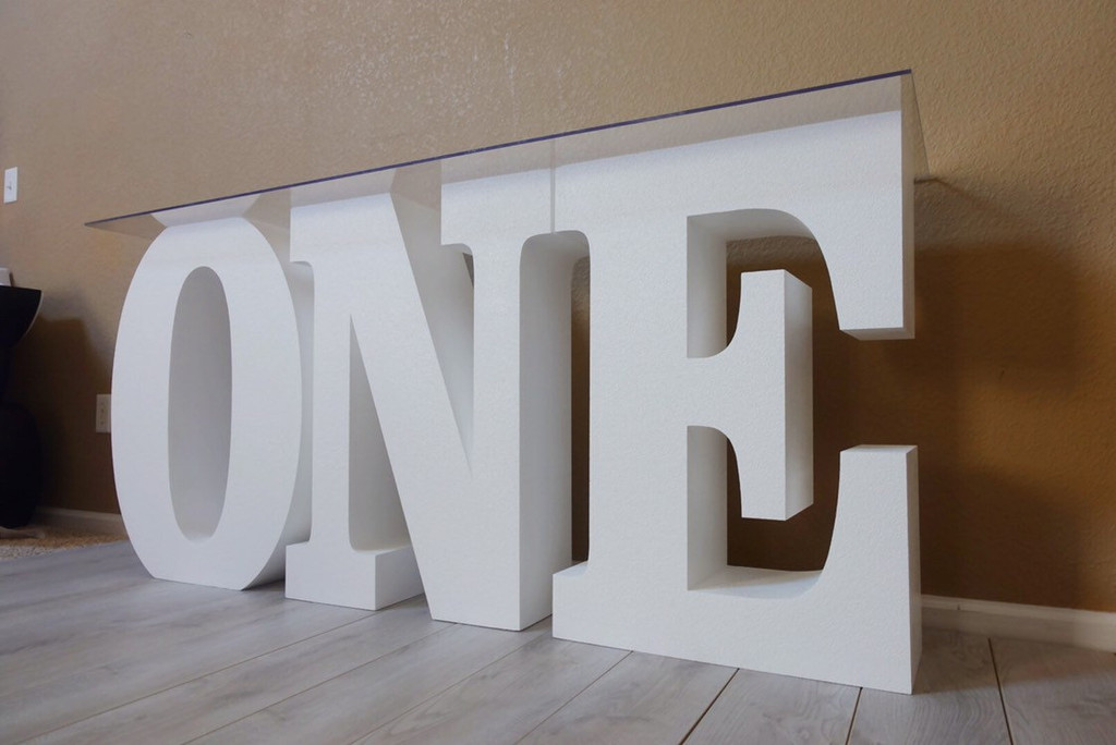 "30"" tall and 8"" deep ONE Table Base Foam Letters"