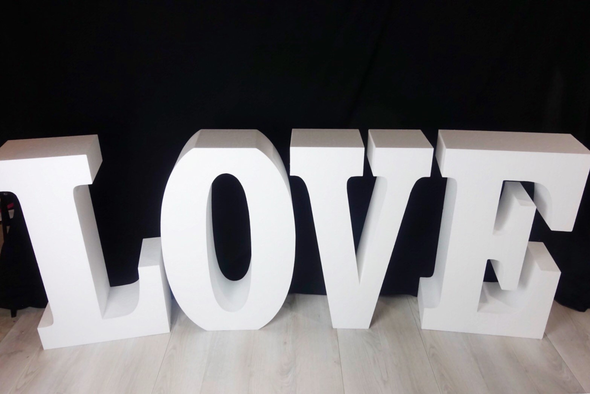 """30"""" tall and 8"""" deep Large LOVE Table Base Foam Letters"""