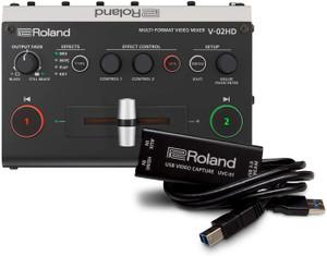 Roland Professional A/V V02HDSTR Multi-Format Video Mixer with UVC-01 HDMI to USB 3.0 Encoder