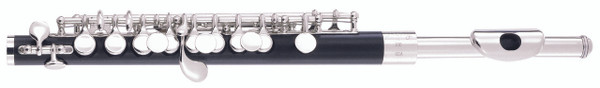 The composite body gives players the warmer sound of wood without the worry of cracking and warping from temperature and humidity changes. A conical bore provides more tonal character than a standard cylindrical bore. The silver plated head with a lip plate allows for a smooth transition between flute and piccolo without an embouchure change. Built in Elkhart, Indiana.