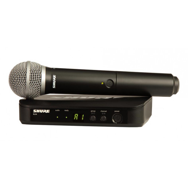 Shure BLX24/PG58 handheld vocal system with BLX4 receiver and PG58 transmitter