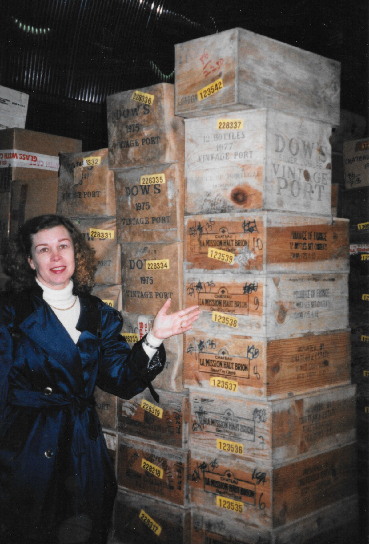 Stephanie Ninaud with cases of Dow's Port
