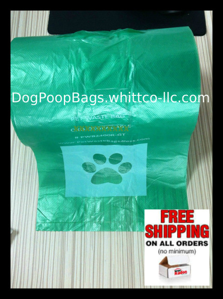 Pet Mitten - Poopy Pouch Doggy Poo NON OEM w/handles easy tie (PWB400R-GT) 400 bags on a roll