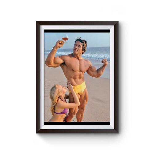 Young Arnold Schwarzenegger Beach Poster