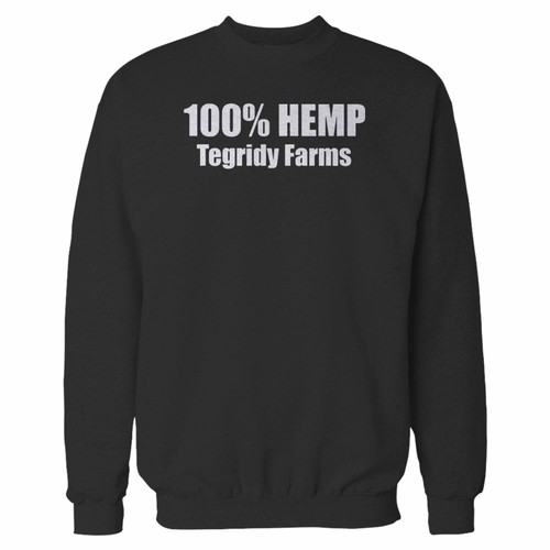 Your 100% hemp tegridy farms crewneck sweatshirt just got an update. This super comfortable and lighter weight crewneck will become your favorite go-to sweatshirt. The cozy spandex cuffs and waistband make this pill-resistant sweatshirt a fan favorite.And your group will look and feel their best in this premium ringspun cotton crew.