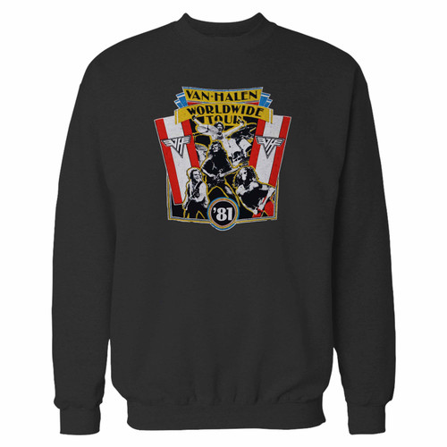 Your 1981 vintage van halen world wide tour crewneck sweatshirt just got an update. This super comfortable and lighter weight crewneck will become your favorite go-to sweatshirt. The cozy spandex cuffs and waistband make this pill-resistant sweatshirt a fan favorite.And your group will look and feel their best in this premium ringspun cotton crew.