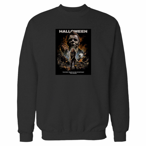 Your 2018 michael myers crewneck sweatshirt just got an update. This super comfortable and lighter weight crewneck will become your favorite go-to sweatshirt. The cozy spandex cuffs and waistband make this pill-resistant sweatshirt a fan favorite.And your group will look and feel their best in this premium ringspun cotton crew.