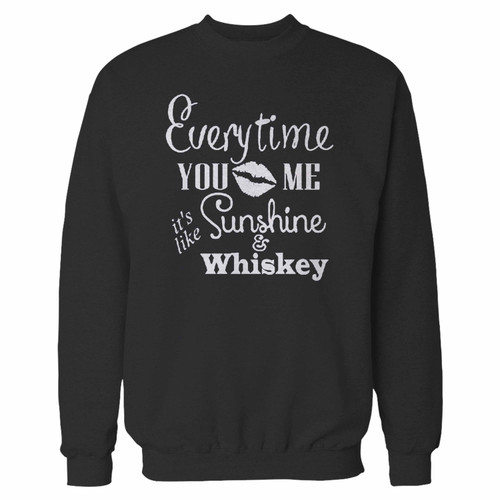 Your everytime you kiss me its like sunshine and whiskey crewneck sweatshirt just got an update. This super comfortable and lighter weight crewneck will become your favorite go-to sweatshirt. The cozy spandex cuffs and waistband make this pill-resistant sweatshirt a fan favorite.And your group will look and feel their best in this premium ringspun cotton crew.