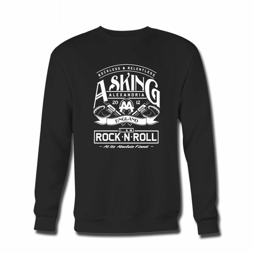 Your Asking Alexandria Aa England Crewneck Sweatshirt just got an update. This super comfortable and lighter weight crewneck will become your favorite go-to sweatshirt. The cozy spandex cuffs and waistband make this pill-resistant sweatshirt a fan favorite.And your group will look and feel their best in this premium ringspun cotton crew.