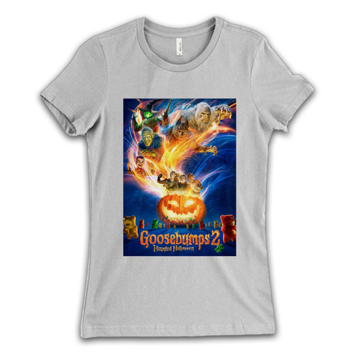 These are Goosebumps 2 Haunted Halloween Cover Women T Shirt that are cute tied to the side or paired with a cardigan or jacket for a more styled look. So comfy and classic, they are sure to make your vacation extra magical.