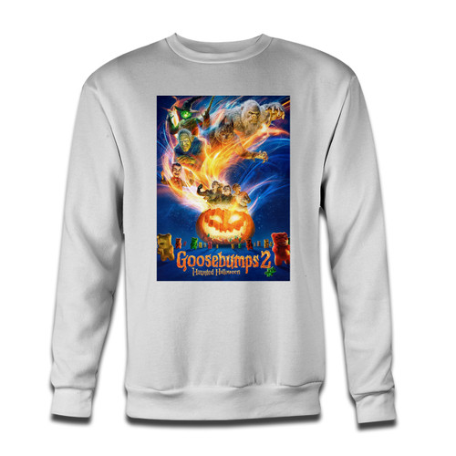 Your Goosebumps 2 Haunted Halloween Cover Crewneck Sweatshirt just got an update. This super comfortable and lighter weight crewneck will become your favorite go-to sweatshirt. The cozy spandex cuffs and waistband make this pill-resistant sweatshirt a fan favorite.And your group will look and feel their best in this premium ringspun cotton crew.
