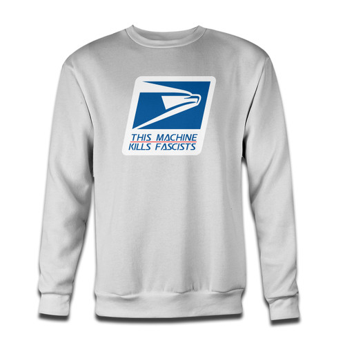 Your USPS Stop Fascists Kill Fascists Crewneck Sweatshirt just got an update. This super comfortable and lighter weight crewneck will become your favorite go-to sweatshirt. The cozy spandex cuffs and waistband make this pill-resistant sweatshirt a fan favorite.And your group will look and feel their best in this premium ringspun cotton crew.