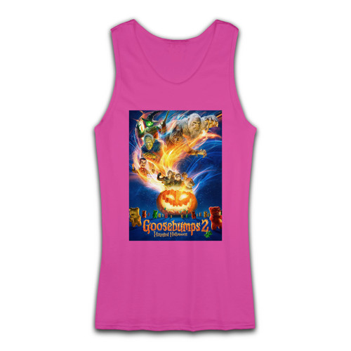 High quality print of this slim fit Goosebumps 2 Haunted Halloween Cover Women Tank Top will turn heads. And bystanders won't be disappointed - the racerback cut looks good one any woman's shoulders.