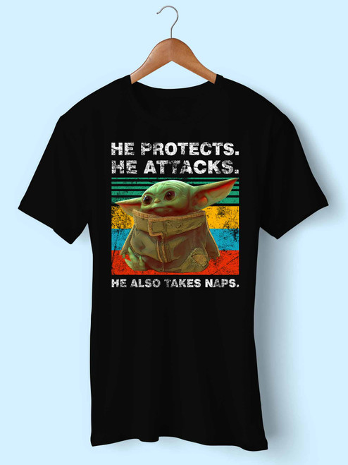 Baby Yoda He Protects He Attacks He Also Takes Naps Star Wars The Mandalorian Men T Shirt