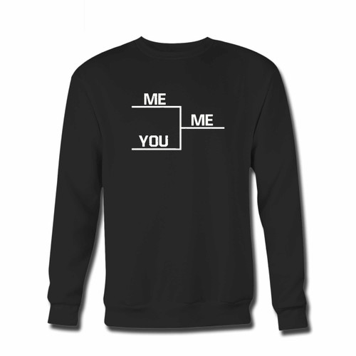 Your You Me Bracket Crewneck Sweatshirt just got an update. This super comfortable and lighter weight crewneck will become your favorite go-to sweatshirt. The cozy spandex cuffs and waistband make this pill-resistant sweatshirt a fan favorite.And your group will look and feel their best in this premium ringspun cotton crew.