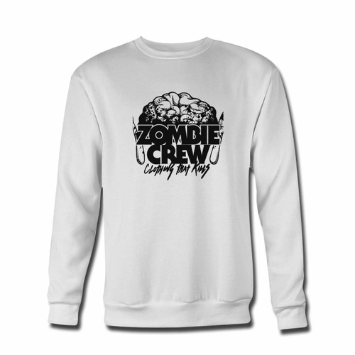 Your Zombie Crew Brain Clothing Crewneck Sweatshirt just got an update. This super comfortable and lighter weight crewneck will become your favorite go-to sweatshirt. The cozy spandex cuffs and waistband make this pill-resistant sweatshirt a fan favorite.And your group will look and feel their best in this premium ringspun cotton crew.