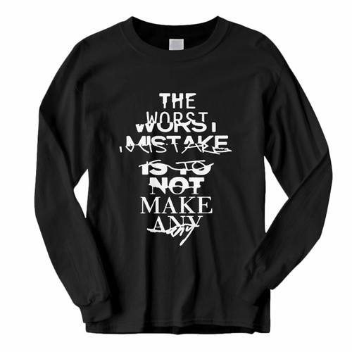 This classic fit Zayn Quote The Worst Mistake Long Sleeve Shirt is casually elegant and very comfortable. With fine quality print to make one stand out, it's a perfect fit for every occasion.