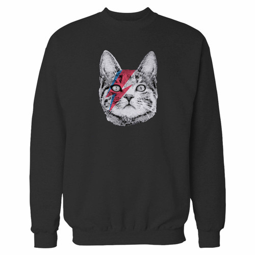 Your ziggy stardust cat david bowie crewneck sweatshirt just got an update. This super comfortable and lighter weight crewneck will become your favorite go-to sweatshirt. The cozy spandex cuffs and waistband make this pill-resistant sweatshirt a fan favorite.And your group will look and feel their best in this premium ringspun cotton crew.