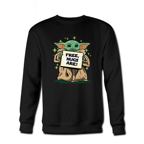 Your Baby yoda Free Hugs Are Fresh Best Crewneck Sweatshirt just got an update. This super comfortable and lighter weight crewneck will become your favorite go-to sweatshirt. The cozy spandex cuffs and waistband make this pill-resistant sweatshirt a fan favorite.And your group will look and feel their best in this premium ringspun cotton crew.
