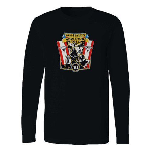 This classic fit 1981 vintage van halen world wide tour long sleeve shirt is casually elegant and very comfortable. With fine quality print to make one stand out, it's a perfect fit for every occasion.