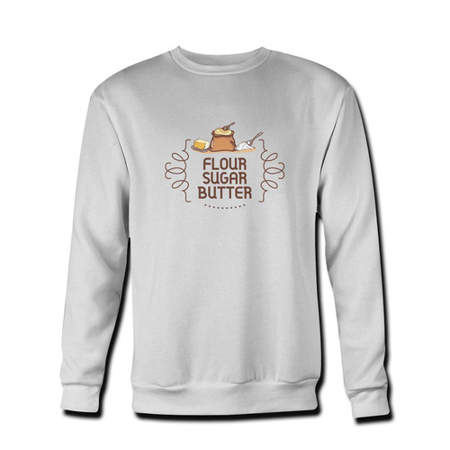 Your Sugar Butter Flour Logo Fresh Best Crewneck Sweatshirt just got an update. This super comfortable and lighter weight crewneck will become your favorite go-to sweatshirt. The cozy spandex cuffs and waistband make this pill-resistant sweatshirt a fan favorite.And your group will look and feel their best in this premium ringspun cotton crew.