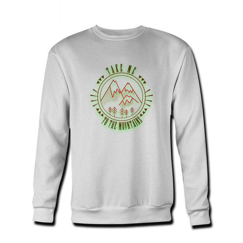 Your Take Me To The Mountains Outdoors Hiking Camping Forest Nature Logo Fresh Best Crewneck Sweatshirt just got an update. This super comfortable and lighter weight crewneck will become your favorite go-to sweatshirt. The cozy spandex cuffs and waistband make this pill-resistant sweatshirt a fan favorite.And your group will look and feel their best in this premium ringspun cotton crew.
