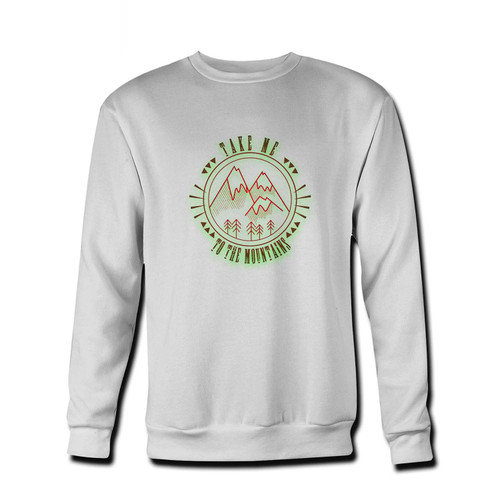 Your Take Me To The Mountains Outdoors Logo Fresh Best Crewneck Sweatshirt just got an update. This super comfortable and lighter weight crewneck will become your favorite go-to sweatshirt. The cozy spandex cuffs and waistband make this pill-resistant sweatshirt a fan favorite.And your group will look and feel their best in this premium ringspun cotton crew.