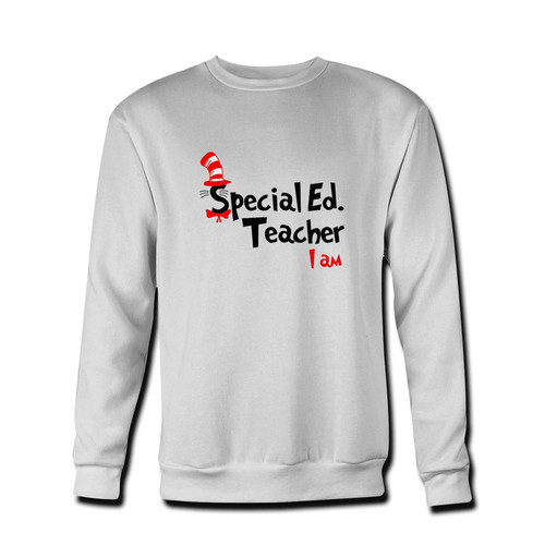 Your Teacher I Am Dr Seuss Sepecial Ed Fresh Best Crewneck Sweatshirt just got an update. This super comfortable and lighter weight crewneck will become your favorite go-to sweatshirt. The cozy spandex cuffs and waistband make this pill-resistant sweatshirt a fan favorite.And your group will look and feel their best in this premium ringspun cotton crew.