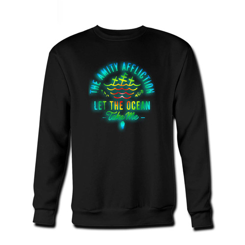 Your The Amity Affliction Let The Ocean Take Me Logo Fresh Best Best Crewneck Sweatshirt just got an update. This super comfortable and lighter weight crewneck will become your favorite go-to sweatshirt. The cozy spandex cuffs and waistband make this pill-resistant sweatshirt a fan favorite.And your group will look and feel their best in this premium ringspun cotton crew.