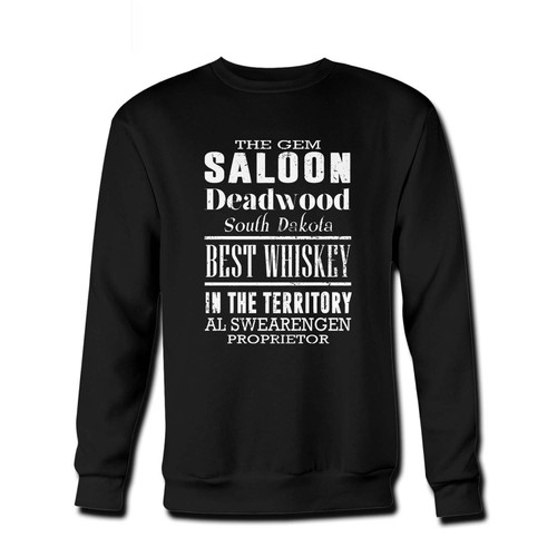 Your The Gem Theatre Saloon Bar Al Swearengen Fresh Best Crewneck Sweatshirt just got an update. This super comfortable and lighter weight crewneck will become your favorite go-to sweatshirt. The cozy spandex cuffs and waistband make this pill-resistant sweatshirt a fan favorite.And your group will look and feel their best in this premium ringspun cotton crew.