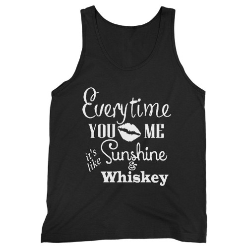 Our cotton everytime you kiss me its like sunshine and whiskey men tank top is perfect for those intense workouts in the gym, at practice or pickup games.