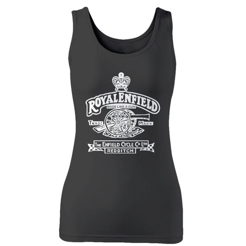 High quality print of this slim fit retro motorbike motorcycles made like a gun bike enfield cycle co redditch cannon indian motorcycle women tank top will turn heads. And bystanders won't be disappointed - the racerback cut looks good one any woman's shoulders.