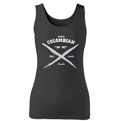 High quality print of this slim fit 100 colombian pablo escobar women tank top will turn heads. And bystanders won't be disappointed - the racerback cut looks good one any woman's shoulders.