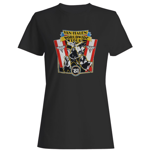 These are 1981 vintage van halen world wide tour women t shirt that are cute tied to the side or paired with a cardigan or jacket for a more styled look. So comfy and classic, they are sure to make your vacation extra magical.