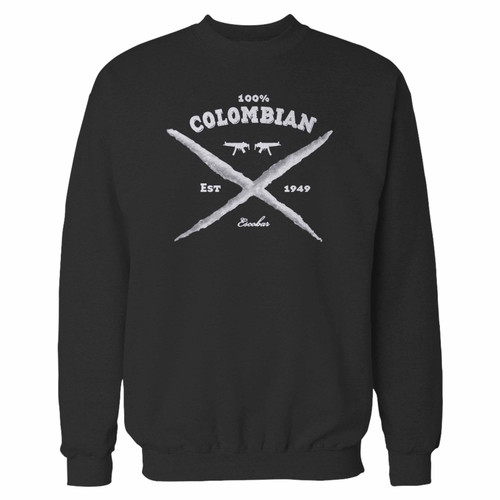 Your 100 colombian pablo escobar crewneck sweatshirt just got an update. This super comfortable and lighter weight crewneck will become your favorite go-to sweatshirt. The cozy spandex cuffs and waistband make this pill-resistant sweatshirt a fan favorite.And your group will look and feel their best in this premium ringspun cotton crew.