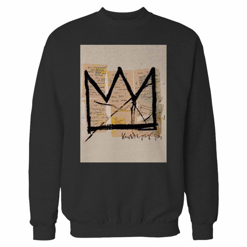 Your basquiat crown jean michel basquiat logo crewneck sweatshirt just got an update. This super comfortable and lighter weight crewneck will become your favorite go-to sweatshirt. The cozy spandex cuffs and waistband make this pill-resistant sweatshirt a fan favorite.And your group will look and feel their best in this premium ringspun cotton crew.