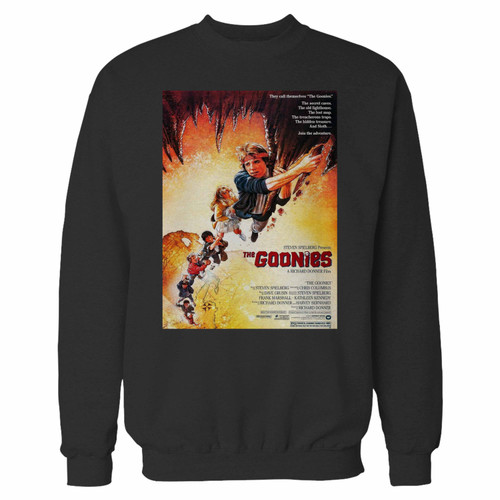 Your goonies 1980s movie crewneck sweatshirt just got an update. This super comfortable and lighter weight crewneck will become your favorite go-to sweatshirt. The cozy spandex cuffs and waistband make this pill-resistant sweatshirt a fan favorite.And your group will look and feel their best in this premium ringspun cotton crew.