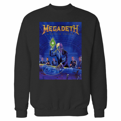 Your megadeth five rust in peace crewneck sweatshirt just got an update. This super comfortable and lighter weight crewneck will become your favorite go-to sweatshirt. The cozy spandex cuffs and waistband make this pill-resistant sweatshirt a fan favorite.And your group will look and feel their best in this premium ringspun cotton crew.